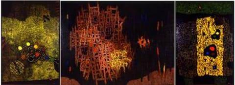 מרדכי ארדון - בשערי ירושלים. טריפטיך; מימין לשמאל: סלע, סולמות, סימן 1967 צבעי-שמן על בד