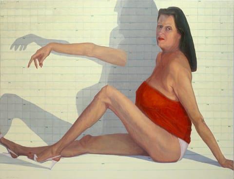 """חוה ראוכר - נערת לוח שנה, שמן על בד 135/180 ס""""מ, 2003"""