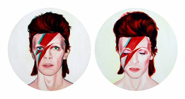 יוסף קריספל - Untitled (Aladin Sane), 2013, oil on canvas, two parts, 60cm diameter each part