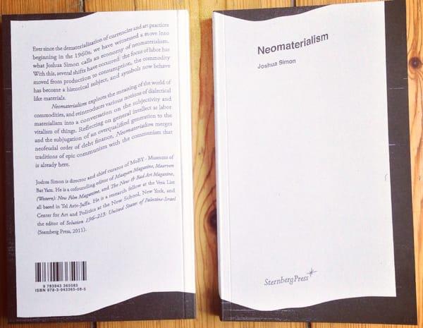 """עטיפת הספר """"ניאומטריאליזם"""", סטרנברג פרס, 2013, עיצוב: אבי בוחבוט"""
