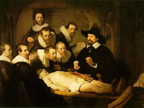 תמונה 3: Rembrandt, Anatomy Lesson of Dr. Nicolaes Tulp, 216.5x169.5 cm, oil on canvas, Mauritshuis Museum, The Hague, 1632