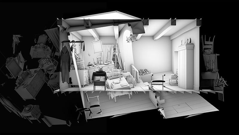 """מאיה ז""""ק, """"חדר השבת 2"""", 2013. 158x90 ס""""מ. הדפס למבדה (מתוך הדמיית מחשב)"""