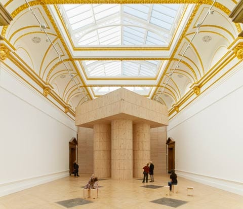 ''Sensing Spaces - Architecture Reimagined''  Title: Installation (Blue Pavilion) by Pezo Von Ellrichshausen. Photo © Royal Academy of Art, London, 2014. Photograph : James Harris