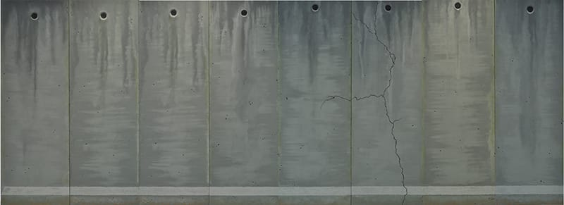"""""""I will dress you a gown of concrete and cement"""", שמן על בד, 2014. 800x300 ס""""מ. צילום: אלעד שריג"""