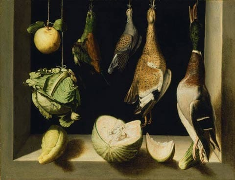 Juan Sánchez Cotán - Still Life with Game Fowl 1600-3 Oil on canvas, 67.8/88.7 cm Art Institute Chicago