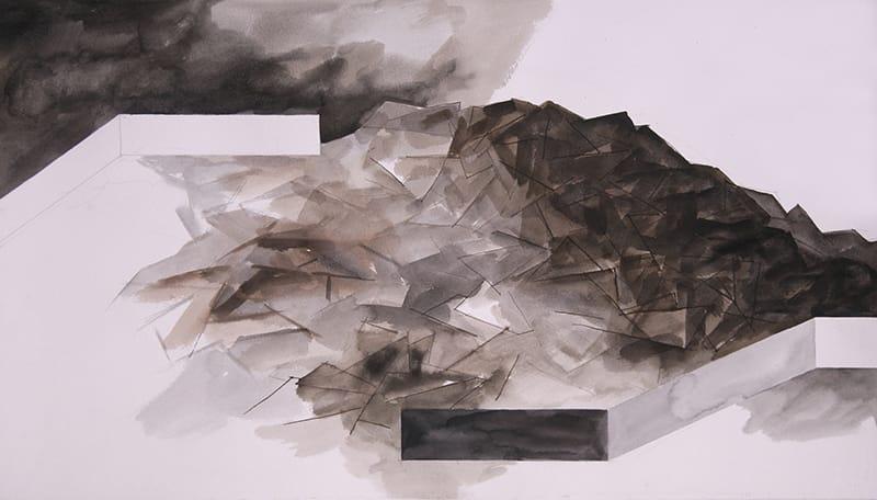"""אברהם אילת, """"גבעה של גיבורים מתים"""", דיו וצבעי מים, 45x76 ס""""מ, 2007"""
