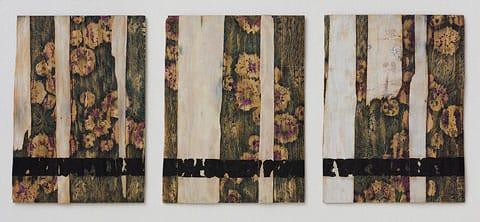 מאשה זוסמן, ללא כותרת, עט כדורי וצבע תעשייתי על עץ, טריפטיך 57/77 גודל יחידה, 2013