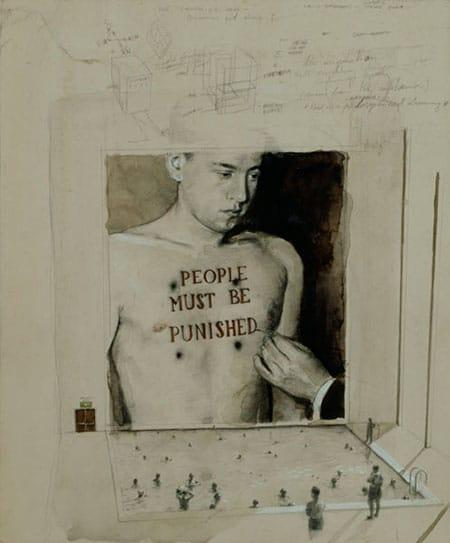 מיכאל בורמנס, בריכת השחייה, 2001, עיפרון וצבע מים על קרטון