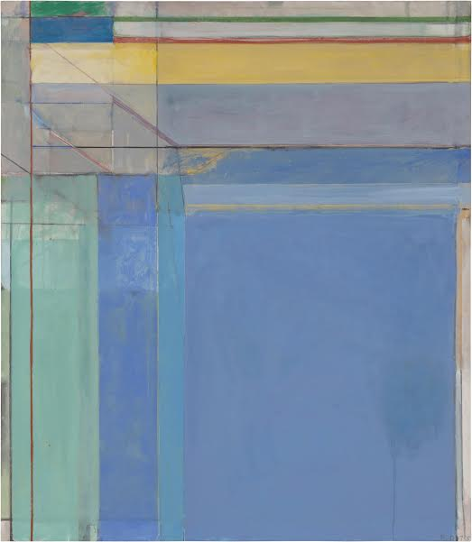 Ocean Park #79, 1975 Oil on canvas, 236.2 x 205.7 cm Philadelphia Museum of Art. Purchased with a grant from the National Endowment for the Arts and with funds contributed by private donors, 1977 © 2015 The Richard Diebenkorn FoundationRichard DiebenkornRichard Diebenkorn