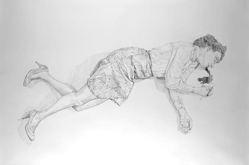 """מאיה ז""""ק, """"עקבה"""". רישום שהוצג בתערוכה והופיע בשקופית החותמת את הסצינה האחרונה בסרט """"אור נגדי"""", 140X210 ס""""מ, 2012"""