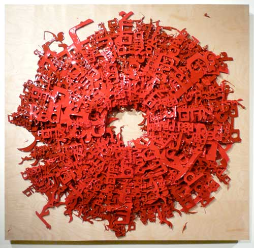 Wavelength range of roughly 630–740 nm #1, 2010 Red in English, Hebrew, Arabic, Yiddish and Spanish Silicone on wood 40 x 40 inch / 100 x 100 cm