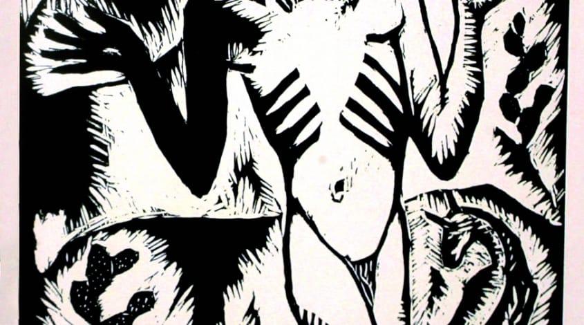 """ראובן רובין, """"הנביא במדבר"""", מתוך הסדרה """"מבקשי אלוהים"""", 1923. חיתוך עץ. אוסף לוין, ירושלים"""