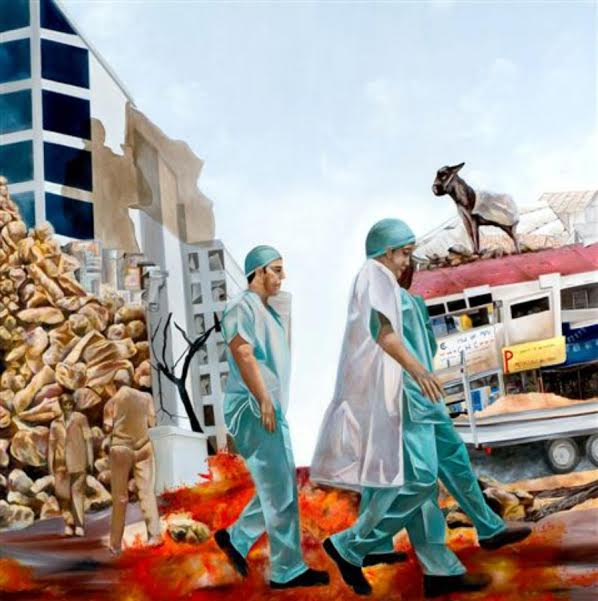"""קרן ענבי, """"הרופאים"""", 2007, שמן על פשתן, 150X150 ס""""מ. צילום: גיא מנדלין"""