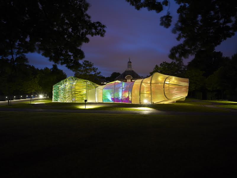 Night view of the pavilion. cf 118621 Serpentine pavilion 2015, designed by selgascano (25 June - 18 October ) Photograph ( C ) John Offenbach