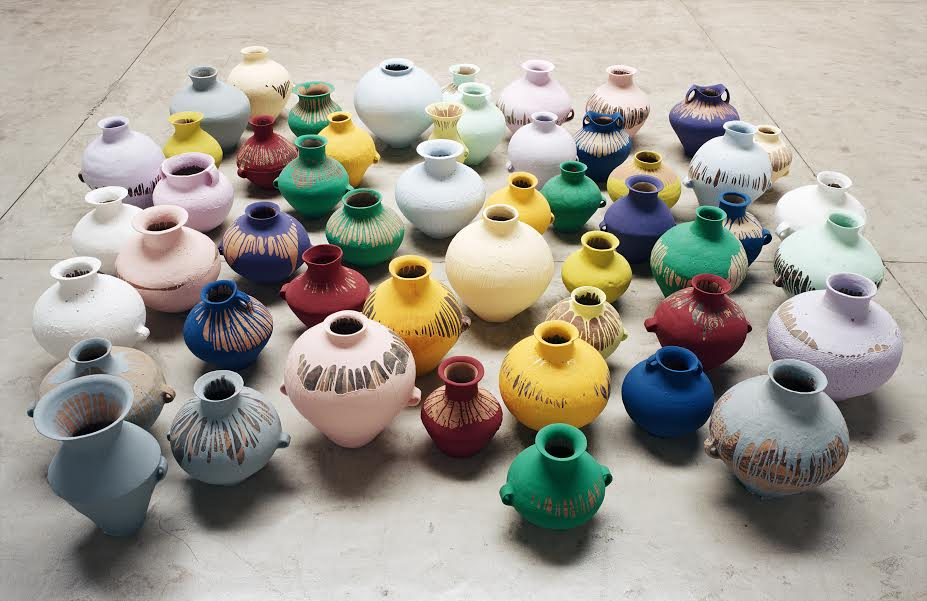 Ai Weiwei, Coloured Vases, 2006-15 Neolithic Vases (5000-3000 BC) with industrial paint Dimensions variable Courtesy Ai Weiwei © Ai Weiwei