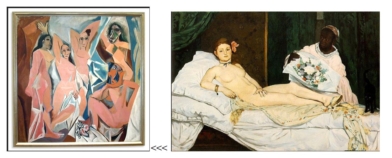איור 3. (מימין:) ״אולימפיה״ אדוארד מאנה 1863. (משמאל:) ״העלמות מאבניון״ פיקאסו 1907