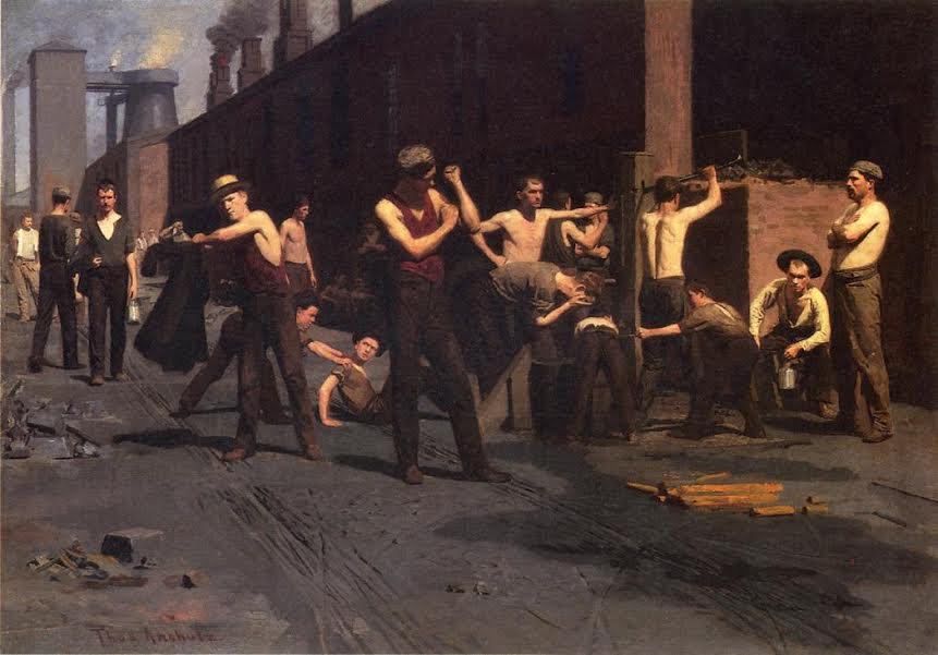 תומס אנשוץ, פועלי מפעל הברזל בהפסקת צהריים, 1880