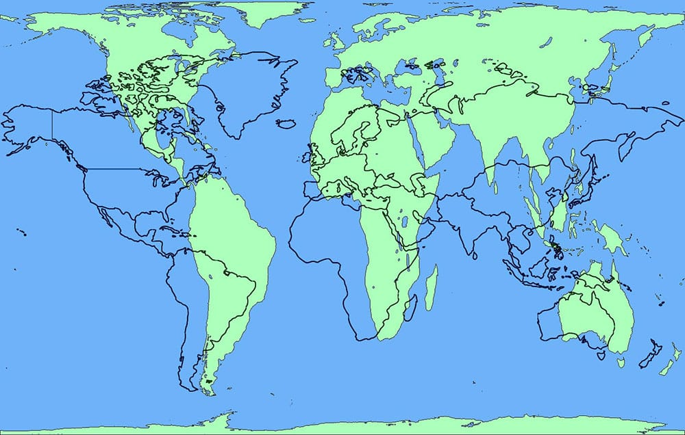 צילום מסך מתוך הפרויקט The True Size Of... / מפות גוגל