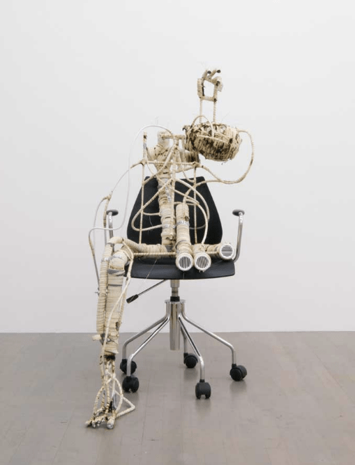 Renaud Jerez, D, 2014, PVC, aluminium, cotton, rubber, office chair, sneakers, 130 x 60 x 55 cm. Courtesy: the artist and Johan Berggren Gallery, Malmö