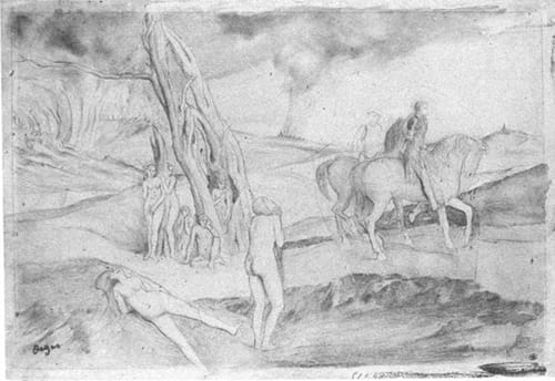 אדגר דגה, רישום הכנה לציור ״סצנת מלחמה בימי הביניים״, 1865