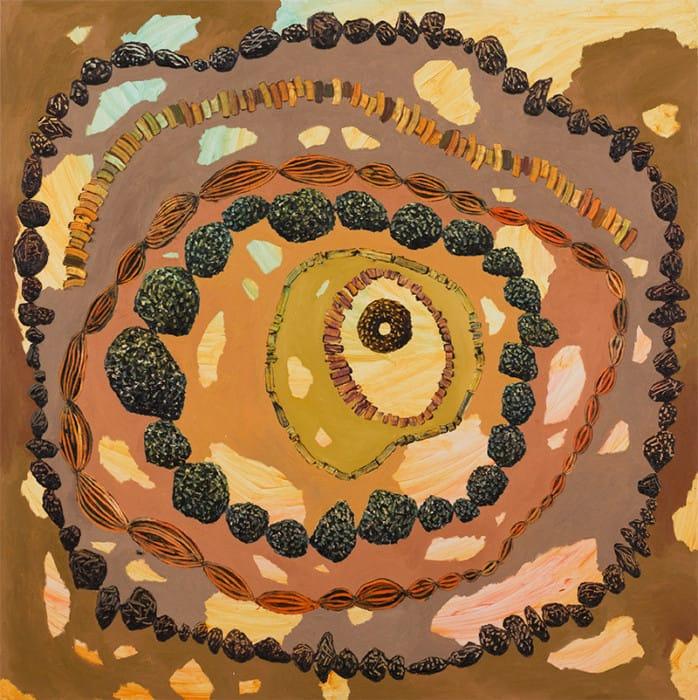 טל ירושלמי, שש מחרוזות וחרוז, 2016, אקריליק ושמן על בד/ צילום: אלעד שריג