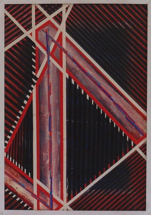 """יצחק גרינפילד, """"פסגות"""", 2011, קולאז' על עץ"""