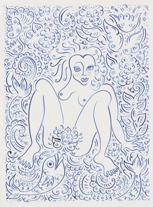 """אלכסנדרה צוקרמן, """"נערה ודג"""", דיו על נייר, 2015"""