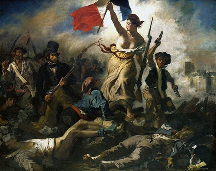 """תמונה 6. יוג'ין דלקרואה, """"החירות מובילה את העם"""", 1830, מוזיאון הלובר, פריז"""